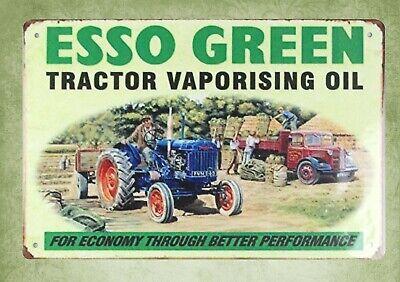 US SELLER- discount wall decor Esso Green tractor vaporising oil tin metal sign - Discount Wall Decor