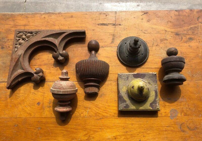 MC 9 Antique Decorative Wood Pediments, Finials, Oak Corbel