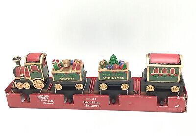 "Winter Wonderland Set of 4 ""Merry Christmas"" Train Stocking Hangers- 5""x 6"" each"