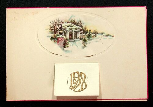 ANTIQUE CHRISTMAS GREETING CARD WITH FULL 1928 CALENDAR!