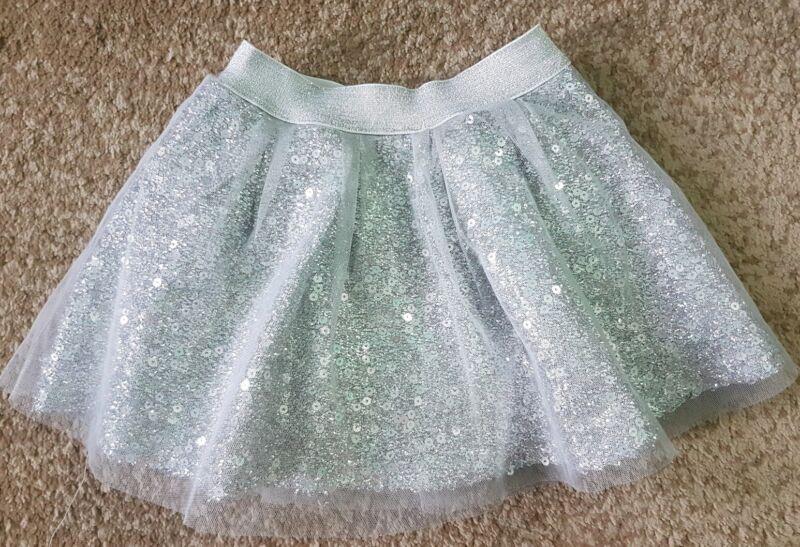 Baby Sara Baby Girl Skirt Sequin And Mesh Silver Metallic Tutu Size 2T