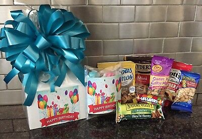 - Happy Birthday Gift Box-Basket Wrapped With Turquoise Bow-Card-Snacks-Candy