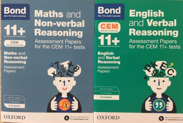 Bond 11+ CEM Age 8-9 English & Verbal And Maths & Non-verbal Assessment Tests