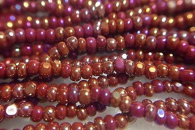 13/0 Dark Red Opague Iris/AB Czech Glass Bead Charlotte Preciosa True Cut, (True Dark Glasses)