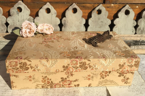 LARGE ANTIQUE FRENCH COVERED BOUDOIR BOX BROCADE FABRIC WILD ROSE PATTERN 19th