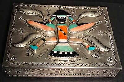 Extraordinary ZUNI NAVAJO KNIFE WING GOD SILVER,STONE & SHELL RAISED-STAMPED BOX