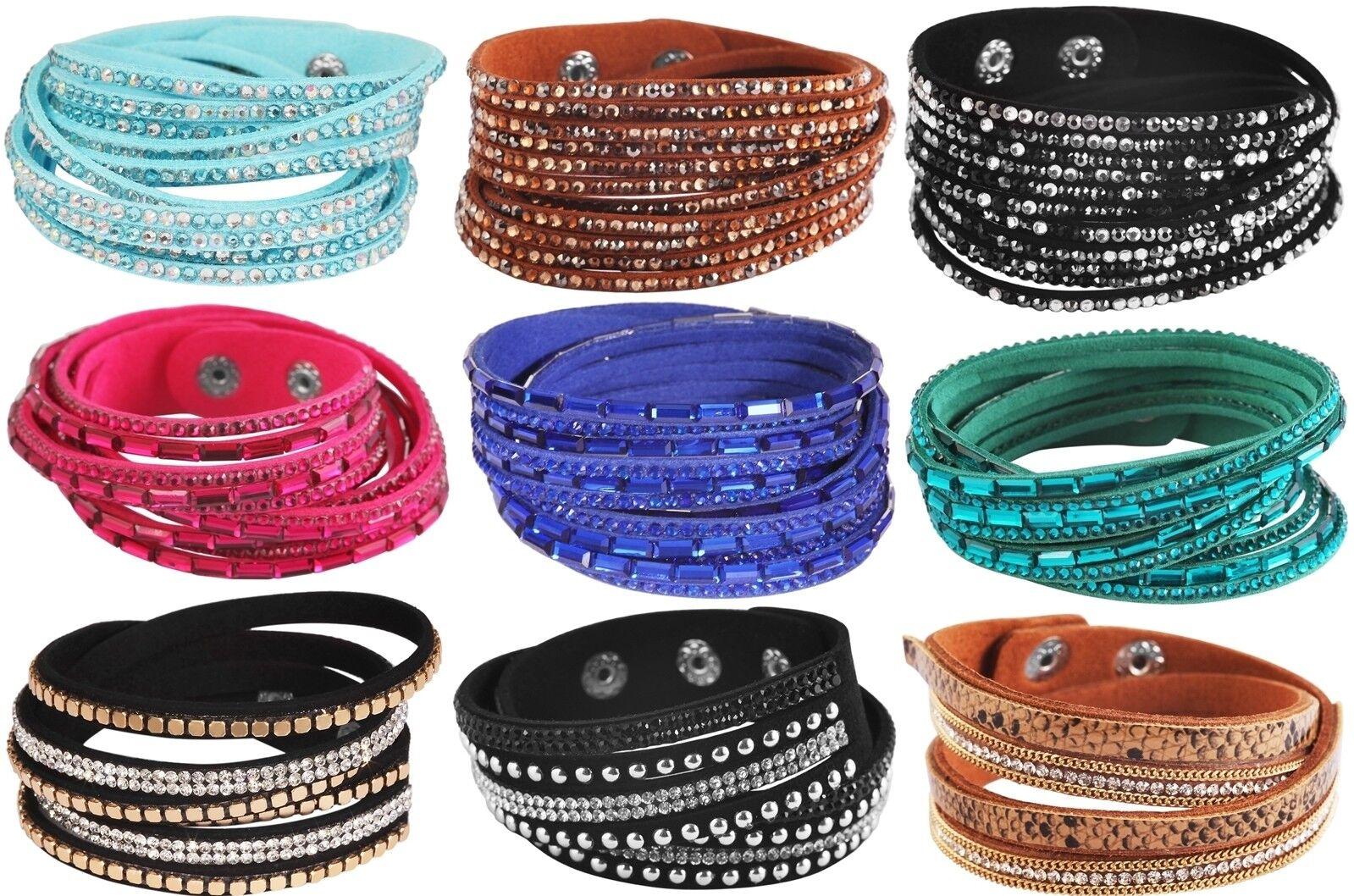 Wickelarmband Strass Damen Armband Slaker Trendy Glitzer Geschenk Bracelet WOW