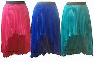 NEW-WOMENS-ASOS-HIGH-WAISTED-CHIFFON-PLEATED-DIP-HEM-DROP-BACK-SKIRT
