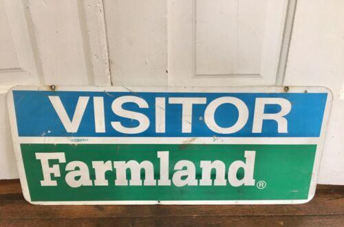 Vtg Farmland Dairy Farm Sign Milk Dairies Metal Feed Seed Gas Oil Advertising