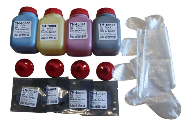 4 color toner refill kit + 4 chips  for Ricoh SP C250dn C250sf SPC250DN SPC250SF