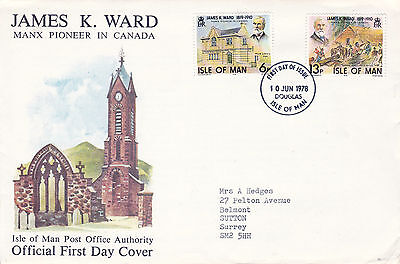 IOM 10 JUNE 1978 JAMES K WARD CANADA OFFICIAL FIRST DAY COVER FDI
