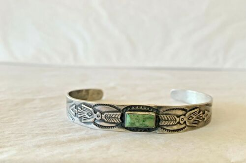 Antique Old Pawn Native Ametican Navajo Coin Silver Turquoise Bracelet.