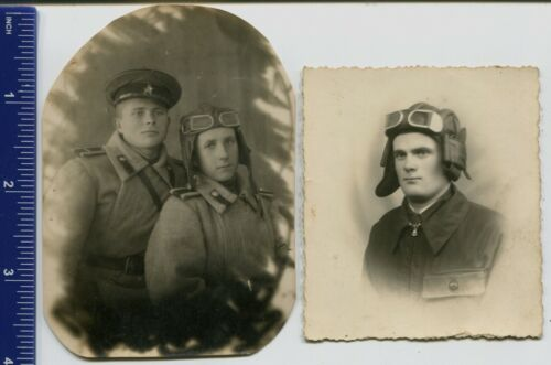 WWII photo USSR tankman cadets of tank school of the Red Army, helmet, uniform