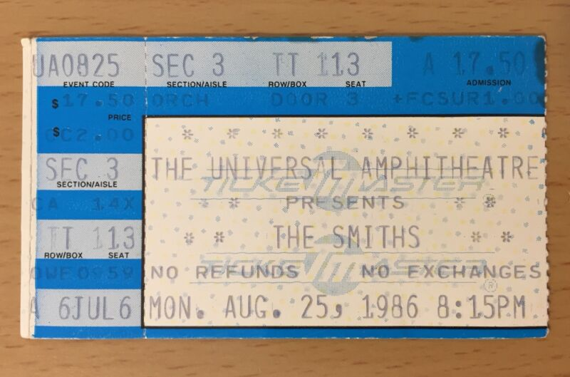 1986 THE SMITHS LOS ANGELES CONCERT TICKET STUB MORRISSEY THE QUEEN IS DEAD TOUR