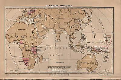 2 Landkarten 1887: DEUTSCHE KOLONIEN. Britische Niederländische Französische Spa