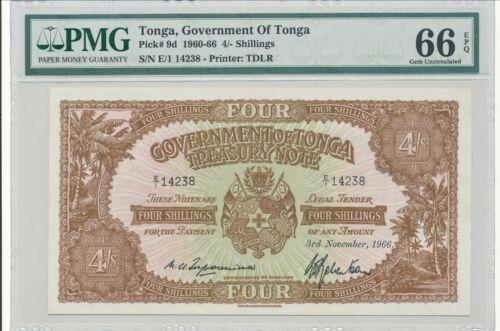 Tonga Banknote Pick-9d 1960-66 4 Shillings PMG 66 EPQ