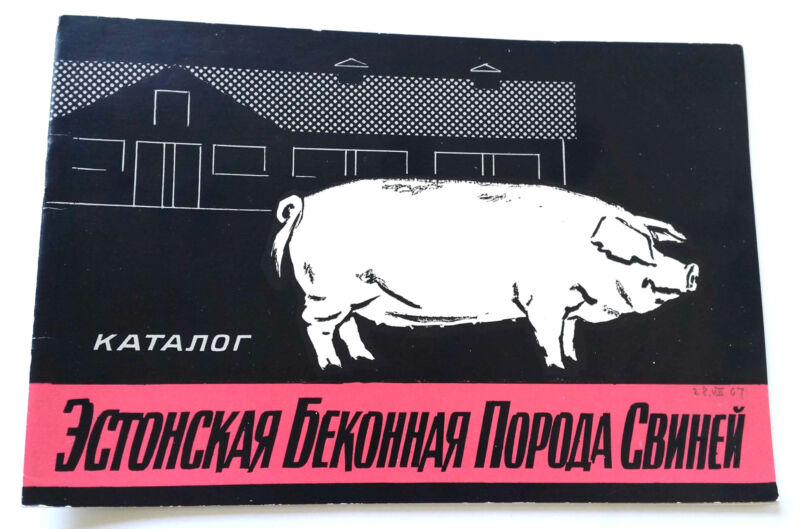 1967 USSR Soviet Russia Estonian BACON BREED of PIGS Booklet Catalog