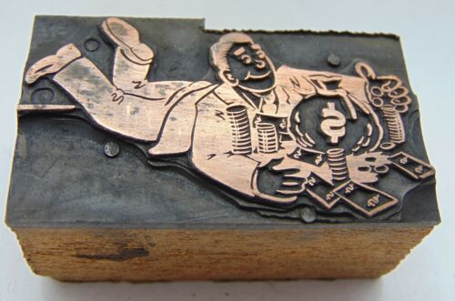 Vintage Letterpress Printing Printers Block Man On Floor With Money