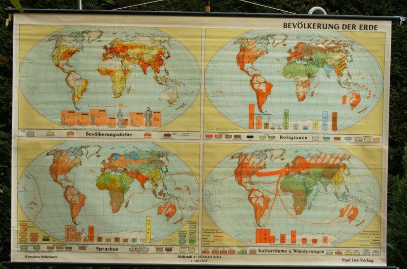 Schulwandkarte Wall Map School Earth World Menschen 97 3/16x64 3/16in