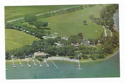 1960's SPIRIT LAKE IA TEMPLAR PARK AERIAL VIEW VINTAGE POSTCARD IOWA RESORT OLD