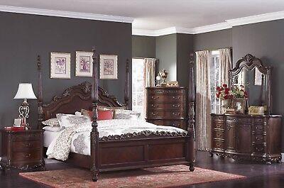 """HOMELEGANCE """"Deryn Park"""" 5 Pc Cal King Poster Bedroom Set - FREE In-Home Setup"""