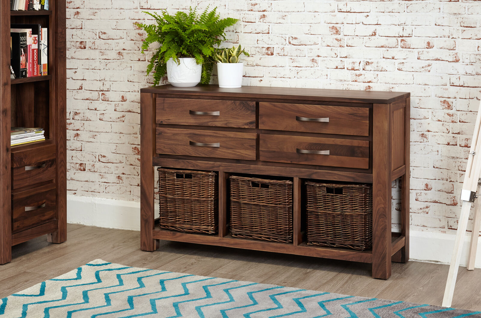 Mayan Dark Wood Console Table 4 Drawers And Wicker Baskets Storage Solid Walnut