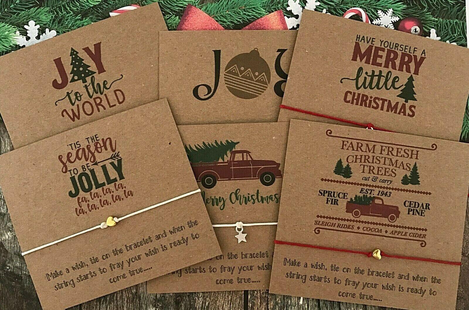 Pack 6 Christmas Gift Wish String Bracelet Good Charms Frien