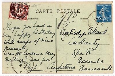 Postal History: Mailed French Printed card with 1 1/2d Brown Postage Due Stamp