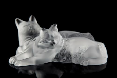 Lalique Crystal Happy & Heggie Cats Figurine Paperweight #11798 France Signed