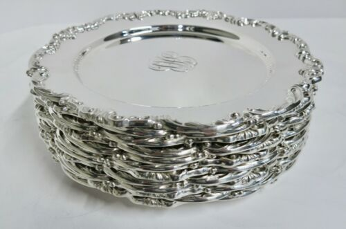 "Set 12 Antique Sterling Silver Plates By Gorham. 9.25""."