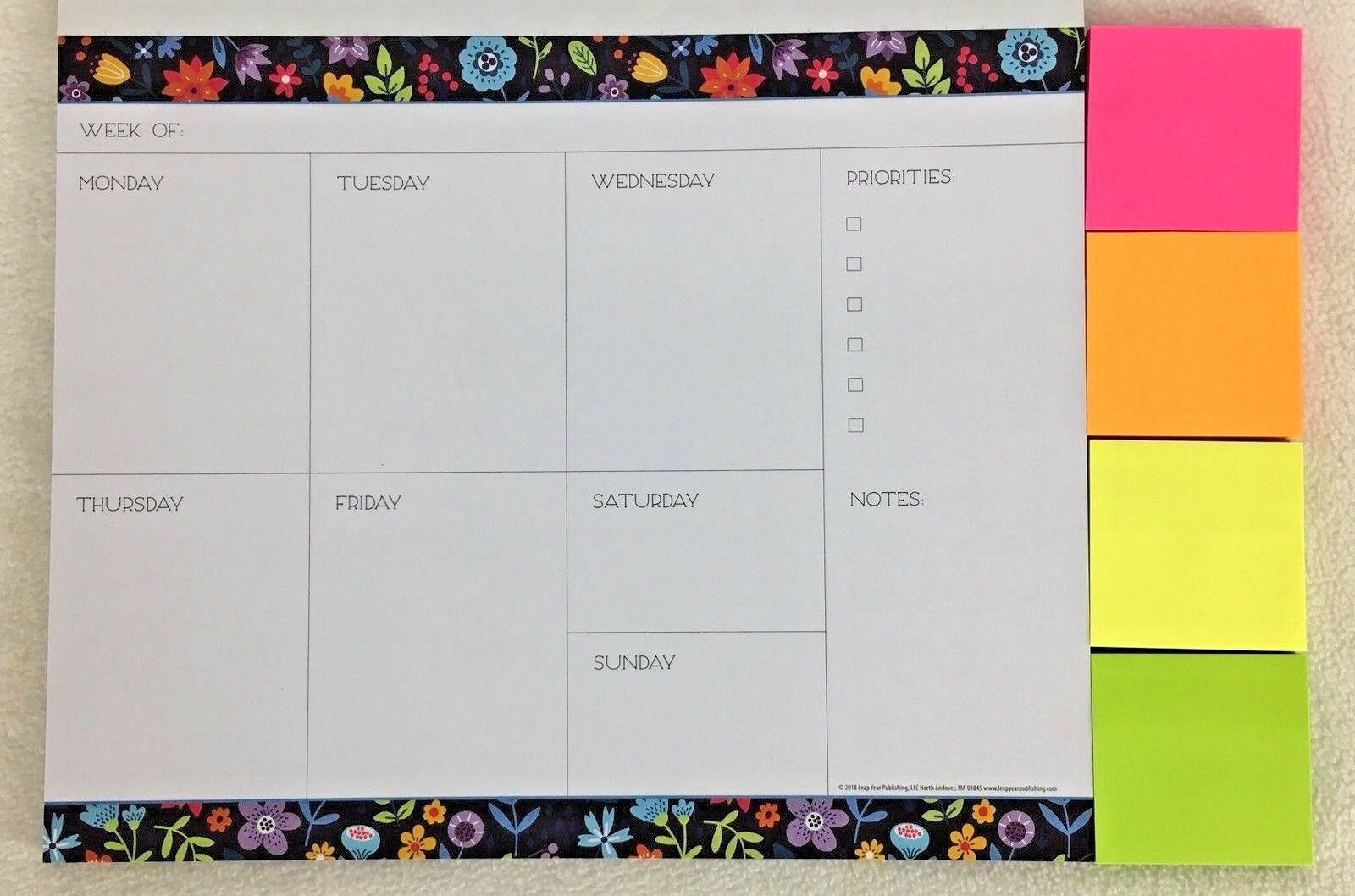 "Undated WEEKLY Planner 52 Pages Moms Family Organizer 10"" x 8"" Sticky Notes 2019"