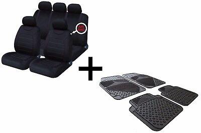 Carnaby Full Black Universal Car Seat Covers Set + Matching Rubber & Carpet Mats