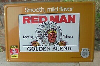 "NOS 1996 Vintage Red Man Golden Blend Chewing Tobacco Sign 17x11"""