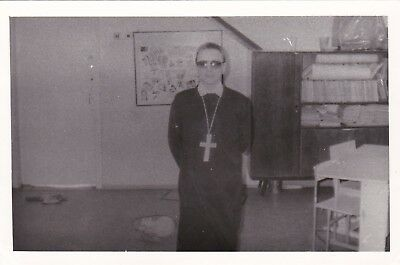 1980s Weird funny boy young man Halloween Catholic Priest 2 Russian Soviet photo - Halloween Photos Funny