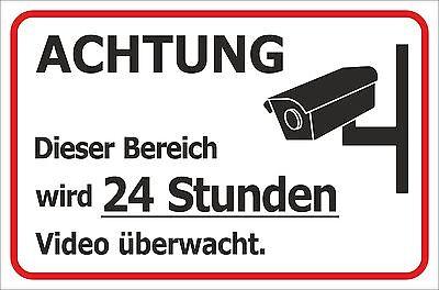 Schild 24 Stunden Videoüberwachung Kamera 15x20 - 40x60cm Sicherheit Hinweis 20 X Video