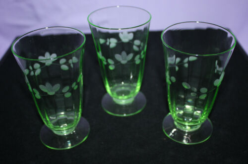 3 Vintage Uranium Green Water Glasses ~ Ribbed Etched Cut Laurel Pedestal
