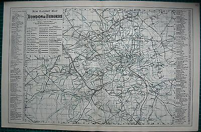 1884 LARGE ANTIQUE MAP-BACON -NEW RAILWAY MAP OF LONDON & SUBURBS
