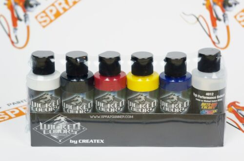 Createx Wicked Colors Detail 2oz Sampler Set W110. 5 Assorted Colors + reducer