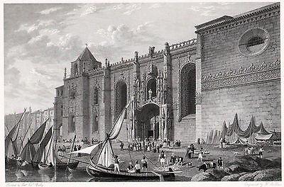 LISSABON LISBOA St. Geronymo Belem Original-Kupferstich von Batty 1830 Orig.