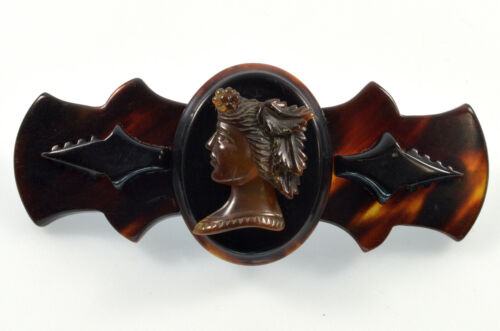 ANTIQUE VICTORIAN FAUX TORTOISE SHELL ARTEMIS DIANA CAMEO BROOCH C.1880