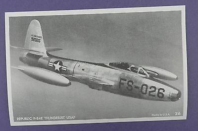 Republic F-84E Thunderbolt US Air Force Postcard - Unused Vintage Stock Item