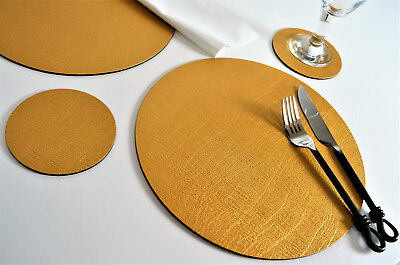 Set 6 ARTISAN GOLD Bonded Leather ROUND PLACEMATS & 6 COASTERS 12-Piece, WEDDING