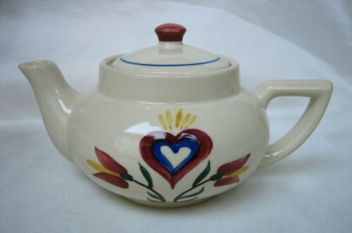 Vintage Shawnee Pottery Heart and Tulips Teapot with Lid ~ Excellent!