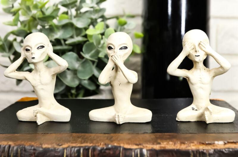 Ebros UFO See Hear Speak No Evil Roswell Alien Sitting Figurines Set of 3