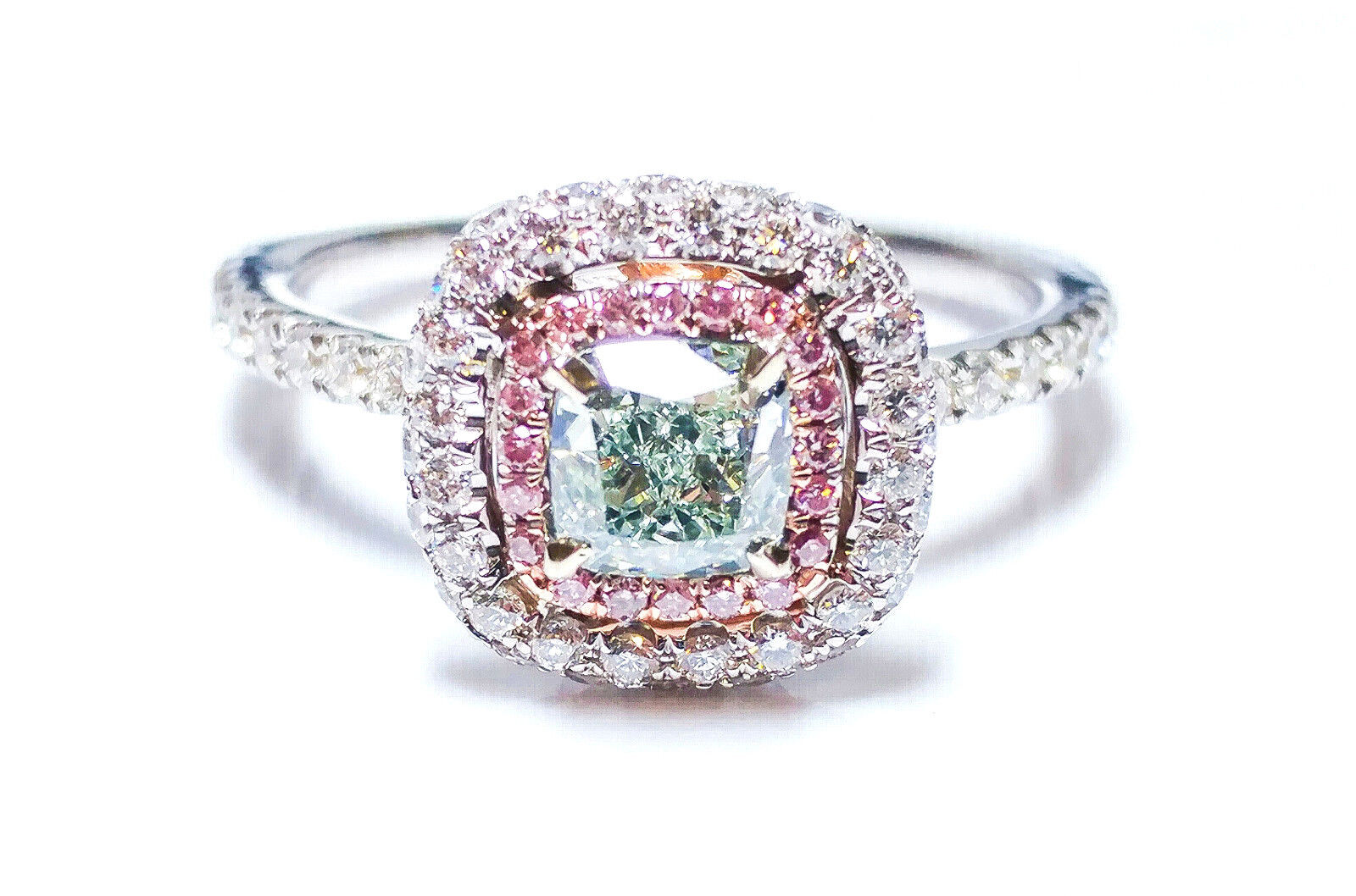 1.31ct Light Green, Argyle 6pp Intense Pink Diamond Engagement Ring GIA 18K VS1