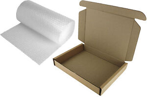LAPTOP SHIPPING POSTAL BOX 50x36x7cm STRONG SAFE MEDIUM PARCEL + 3m BUBBLE WRAP
