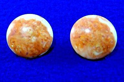 Vintage Earrings - Terracotta & Cream Lucite - Gold Filled 1/20 12K GF- Clip on