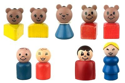 9 Vtg Fisher Price Toys Little People Bears Men Women 7 Wooden Base 2 Plastic