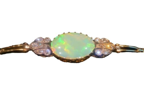 Antique 14ct Yellow Gold Large Fiery Opal With Diamonds Bracelet c 1930s