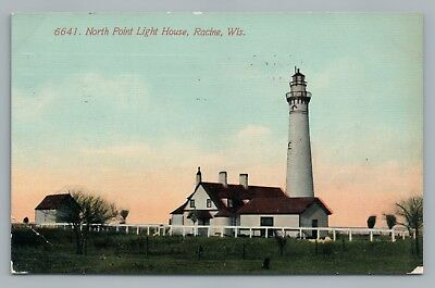 North Point Light House RACINE Wisconsin—Rare Antique Postcard—Lake Michigan '11 for sale  Shipping to Canada